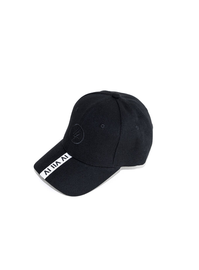 White Strip 474 Baseball Cap front 2