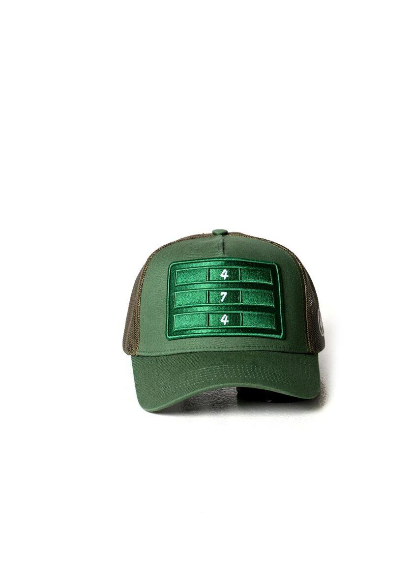 Green Distressed Mesh Trucker
