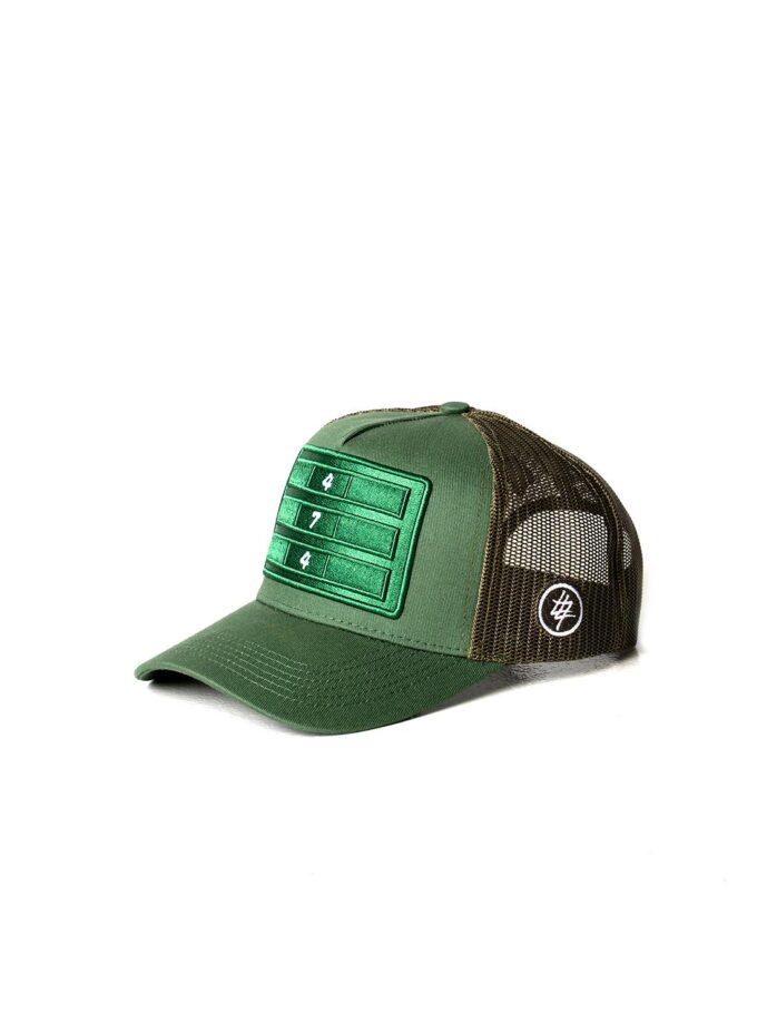 Green Distressed Mesh Trucker