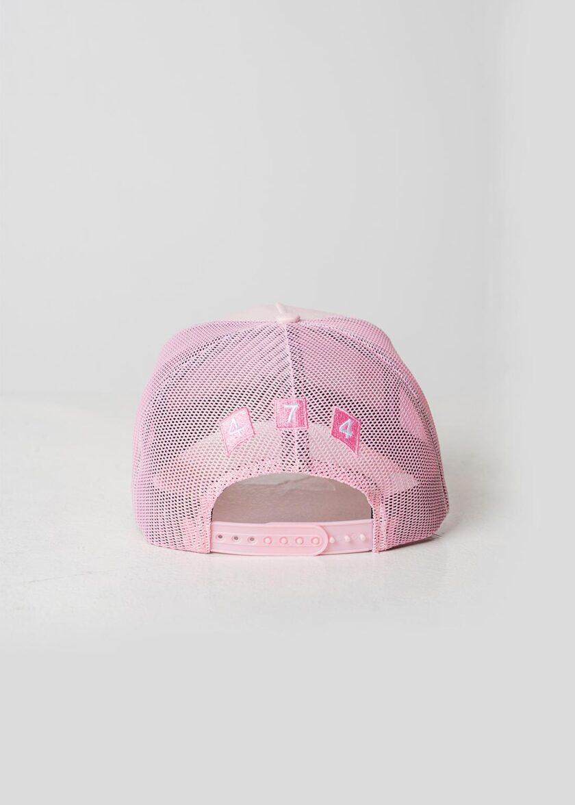 Pink Distressed Mesh Trucker