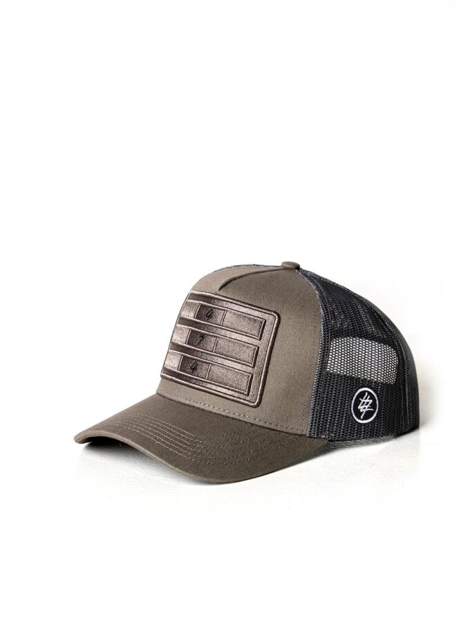 Stone Grey Distressed Mesh Trucker