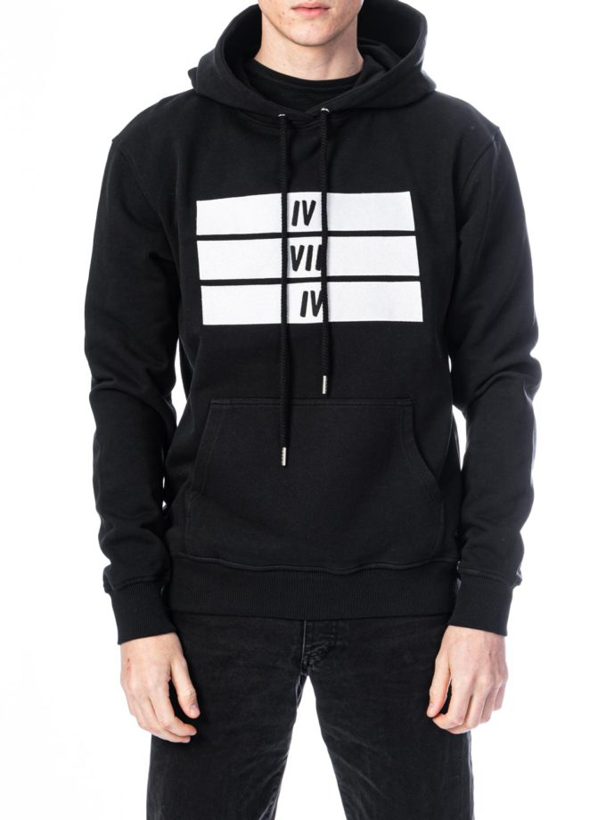 Organic Cotton Black and White 3 Bars Hoodie - Black