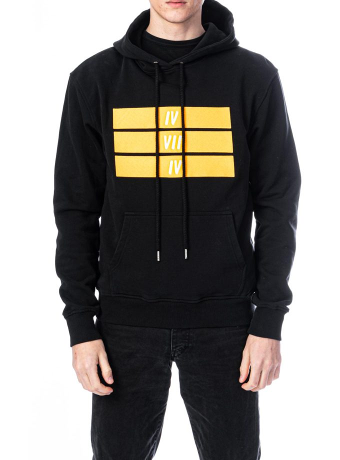 Organic Cotton Yellow 474 Bars embroidery Hoodie - Black