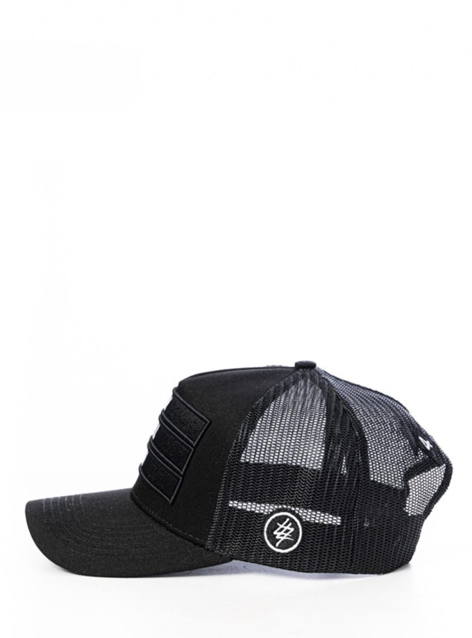 All Black 474 3 Bars Trucker Hat 4