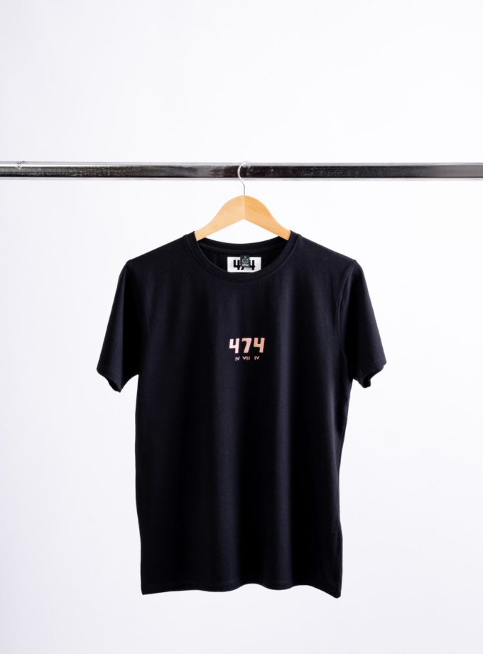 Orange Print Black T-Shirt