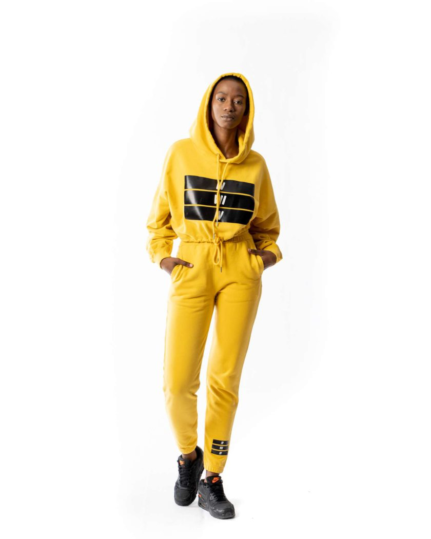 474co Mustard Yellow Oversized Cropped Hoodie
